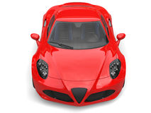 Carnelian red sport concept car - front view top down shot Stock Image