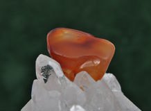 Carnelian on rock crystal Royalty Free Stock Photos