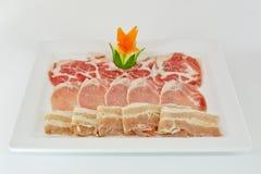 Carnes curadas frescas clasificadas en el aislante blanco del plato fotografía de archivo libre de regalías