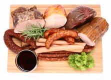 Carnes frias e vinho Foto de Stock Royalty Free