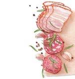 Carnes, romero y pimienta clasificados de la tienda de delicatessen imagen de archivo libre de regalías