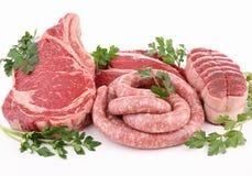 Carnes sin procesar aisladas Imagen de archivo libre de regalías