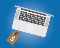 Carnet électronique de promotion spéciale de remise d'offre de vente au détail d'étiquette de label de prix discount d'ordinateur Images stock