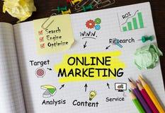Carnet avec des outils et des notes au sujet de marketing en ligne Photographie stock