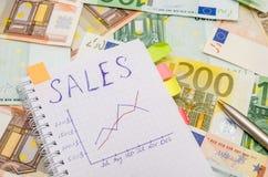 Carnet avec le mot de vente au-dessus des factures d'euro Photographie stock libre de droits