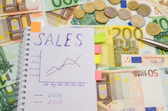Carnet avec le mot de vente au-dessus des factures d'euro Photos stock