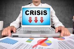 Carnet avec le symbole de crise Image stock