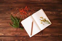 Carnet blanc vide, crayon et ashberry en bois sur le fond en bois Photo stock