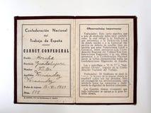Carnet CNT 1937 spanish cywilna wojna zdjęcia royalty free