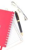 Carnet d'adresses et crayon lecteur avec l'espace de copie. Images libres de droits