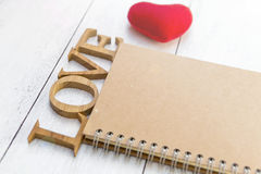 Carnet d'amour, concept de valentine de vintage Images libres de droits
