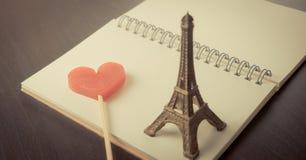 Carnet d'histoire d'amour de Paris Valetines Images stock