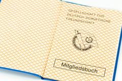 Carnet de socio de la sociedad para la amistad soviética alemana imagen de archivo