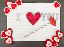 Carnet de Valentine Image libre de droits