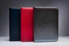Carnet en cuir or-argent de bleu, rouge et foncé sur le fond gris Photos libres de droits