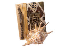 Carnet et coquillage Images stock