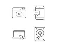 Carnet, lecteur de disque dur et fenêtre du navigateur illustration de vecteur