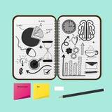 Carnet ouvert avec des dessins de projet d'affaires illustration stock