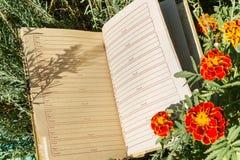 Carnet sur l'herbe verte avec des fleurs Photo libre de droits