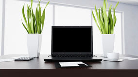 Carnet sur la table de bureau workspace Concept de travail de bureau, rendu 3d Image stock