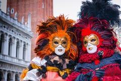 Carneval面具在威尼斯-威尼斯式服装 库存图片