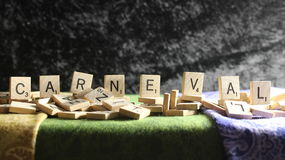 CARNEVAL in Scrabble Letter Tiles royalty free stock photos