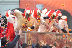 Carnevale d' ivrea. Immage captured during the orange battle in Ivrea Royalty Free Stock Photos
