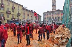 Carnevale di Ivrea La battaglia delle arance Fotografia Stock Libera da Diritti