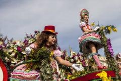 Carnevale famoso di Nizza, battaglia del ` dei fiori Ciò è l'evento principale di inverno del Riviera fotografia stock