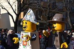 Carnevale - galleggiante dei blocchetti di Lego Fotografia Stock Libera da Diritti