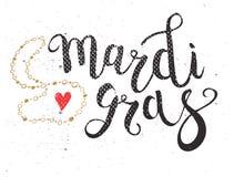 Carnevale Mardi Gras Brush Pen Sign Mardi Gras Calligraphic illustrazione vettoriale