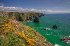 Carnewas and Bedruthan Steps. Scenic view of Carnewas and Bedruthan Steps coastline, Cornwall, England, United Kingdom Stock Image