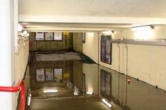 Carnforth-Stations-U-Bahn der flutartigen Überschwemmung, Carnforth Stockfotografie