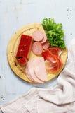 Carni assortite della ghiottoneria - prosciutto, salame, Parma, prosciutto di Parma Fotografia Stock Libera da Diritti
