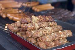 Carni e salsiccia cotte Immagini Stock