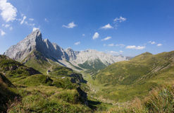 Carnic从Geo足迹Wolayersee的阿尔卑斯视图在Lesachtal克恩顿州奥地利 库存图片