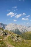 Carnic从Geo足迹Wolayersee的阿尔卑斯视图在Lesachtal克恩顿州奥地利 免版税图库摄影