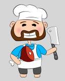 Carniceiro com faca e carne Foto de Stock Royalty Free