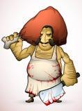 Carniceiro com um machado em seus mão e presunto defumado Fotografia de Stock Royalty Free