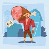 Carniceiro de carne de porco Animal Farm de Hold Pig Leg do fazendeiro Imagem de Stock Royalty Free