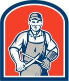 Carniceiro Sharpening Knife Shield ilustração stock