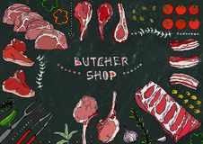 Carniceiro Shop Cortes da carne - carne, carne de porco, cordeiro, bife, traseiro sem ossos, assado de reforços, lombo e Rib Chop ilustração do vetor