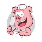 Carnicero del cerdo en marco redondo ilustración del vector