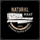 Carnicero diseñado retro Shop Label Template con los cuchillos stock de ilustración