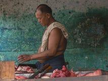 Carnicero en Myanmar Foto de archivo