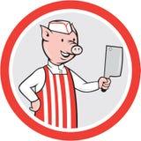 Carnicero Holding Knife Cartoon del cerdo ilustración del vector