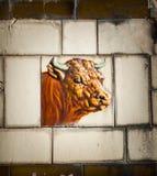 Carnicero Shop Bull Tile Fotos de archivo