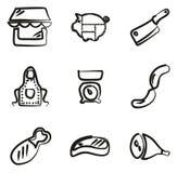 Carnicero Shop Icons Freehand Fotografía de archivo libre de regalías