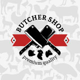 Carnicero Shop Label Template ilustración del vector