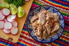 Carnitas του Πουέμπλα-χοιρινού κρέατος Carnitas- coloful στοκ φωτογραφία με δικαίωμα ελεύθερης χρήσης